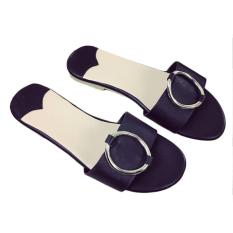 Summer Baru Eropa dan Amerika Tidal Flat dengan Fashionable dan Nyaman Wanita Cool Sandal Hitam-