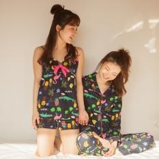 Bagian Tipis Musim Panas Selimut Sling Shorts Pajamas Suit Nn. SummerKorean-gaya Cute Lengan Lengan Panjang Tracksuit Wanita (TS153-8029 Sling Bagian) -Intl