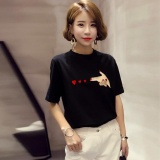 Spek Summer V Leher Lengan Pendek Motif Hitam T Shirt Blus Atasan Internasional Oem