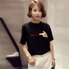 Summer V Leher Lengan Pendek Motif Hitam T Shirt Blus Atasan Internasional Asli