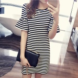 Pusat Jual Beli Pakaian Musim Panas Striped Dress Baru Pola Korea Gaya T Shirt Medium Pola Intl Indonesia