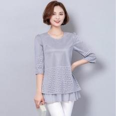 Musim Panas Wanita Atasan Kasual Jaring Berongga Plus Ukuran Baju Stitchingloose Modis Sifon Lipatan Kampuh Panjang Blus Kimono (Abu-abu) & Nbsp-Internasional