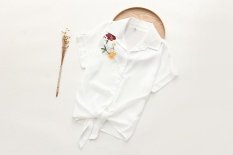Summer Women Casual Tops Short Sleeve Embroidery White Top Blouses Shirts Sexy Kimono Loose Beach Shirt Blusas Feminina