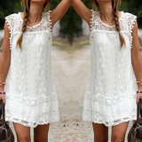 Beli Musim Panas Wanita Berenda Gaun Tanpa Lengan Leher O Tassel Casual Mini Dress Lurus Sundress Gaun Putih Intl Murah Hong Kong Sar Tiongkok