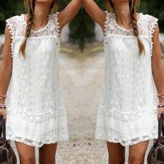 Musim Panas Wanita Berenda Gaun Tanpa Lengan Leher O Tassel Casual Mini Dress Lurus Sundress Gaun Putih-Intl