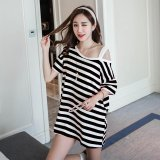 Harga Musim Panas Wanita Off Bahu Longgar Stripe Dress Intl Yang Murah