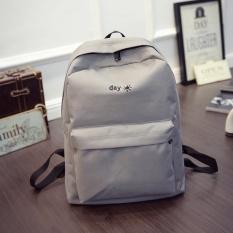 Matahari dan Bulan Portable Pemakaian Sehari-hari Shoulder Bag Canvas Sekolah Tinggi Siswa Bag Girls Leisure Travel Backpack Grey- INTL