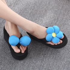 Matahari Wanita Sol Tebal Non-slip Sandal Jepit Bunga Sendal (Biru Kupu-Kupu + Bunga)