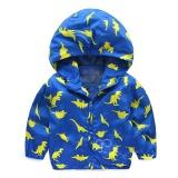 Review Sunshop Bayi Anak Laki Laki Jaket Anak Anak Hooded Dinosaur Printed Pakaian Luar Musim Dingin Musim Gugur Lengan Panjang Biru Intl Terbaru