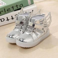 Sunshop Fashion Girl LED Bright Night Light Bernapas Wings STAR Sports Sepatu Anak Kets (Perak)-Intl