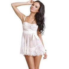 Sunshop Fashion Wanita Jala Renda Perspektif Menggoda Gaun Rok (Putih)-Intl