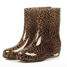 Sunshop Fashion Wanita Waterproof Antiskid Pertengahan Betis Dots Karet Sepatu Wanita Rain Boots 1 # Leopard-Intl