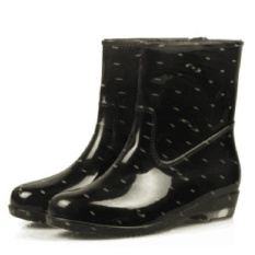 Sunshop Women's 4 Colors High Waist Career Short Skirts Slim Waterproof Antiskid Pertengahan Betis Dots Karet Sepatu Wanita Hujan Boots 2 # Hitam