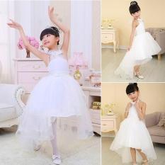 Sunshop Anak-anak Gadis Manis Style Multi-layer Tulle Putih Putri Pakaian untuk Pernikahan Perjamuan Pesta Ulang Tahun-Intl