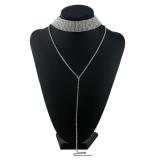 Jual Sunshop Wanita Pesona Perhiasan Rhinestone Pendant Rantai Choker Laporan Tassel Necklace Silver Branded Murah