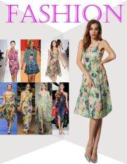 Sunweb ANGVNS Fashion Ladies Women Sweet Spaghetti Strap Floral Beach Chiffon Dress ( Green )