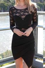 Harga Sunweb Fashion Wanita Renda Seksi Penyambungan Lengan Panjang O Leher Gaun Pendek Ritsleting Tidak Teratur Hitam Merk Oem