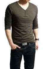 Penawaran Istimewa Sunweb V Leher Panjang Kasual Pria Lengan Baju T Shirt Puncak Kopi Terbaru