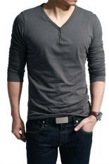 Spesifikasi Sunweb Leher V Lengan Panjang Kasual Pria Wearing T Shirt Tops Abu Abu Gelap Murah