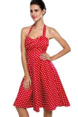 Spesifikasi Sunweb Wanita Kutang Polka Dot Warna Without Lengan Ikat Tinggi Sandaran Ayunan Gaun Midi Merah Murah Berkualitas
