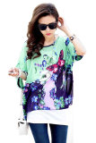 Beli Sunweb Wanita Batwing Lengan Chiffon Shirt Bohemian Atasan Ukuran Lebih Blus Hijau Muda Dengan Kartu Kredit