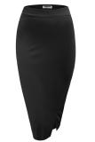 Katalog Sunweb Zeagoo Wanita Tinggi Pinggang Slim Stretch Side Split Pensil Rok Hitam Terbaru