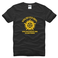 SUPER NATURAL WINCHESTER BROTHER SIX STAR GRAPHIC TEE Dicetak Mens MEN T Shirt T-shirt 2015 Cotton Tshirt Camisetas Masculina (hitam) -Intl