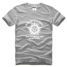 SUPER NATURAL WINCHESTER BROTHER SIX STAR GRAPHIC TEE Dicetak Mens MEN T Shirt T-shirt 2015 Cotton Tshirt Camisetas Masculina (grey) -Intl