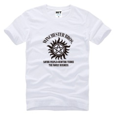 SUPER NATURAL WINCHESTER BROTHER SIX STAR GRAPHIC TEE Dicetak Mens MEN T Shirt T-shirt 2015 Cotton Tshirt Camisetas Masculina (putih) -Intl
