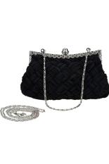 Supercart Fashion Wanita Tas untuk Acara Di Malam Hari Berlian Imitasi Berkilau Tas Tangan Tas Bahu Dompet Tangan dengan Jaringan (Hitam)-Intl