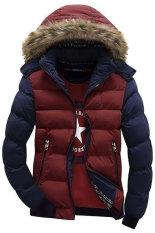 Supercart Fashion Pria Kasual Parka Down Coat Hooded Padded Ritsleting Kontras Warna Outwear Merah Biru Asli