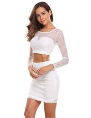 Supercart Finejo Wanita Kasual Leher-o Lengan Panjang Terkena Pusar Atasan dan Paket Panggul Rok (Putih)-Internasional