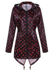 SuperCart Meaneor Fashion Wanita Anak Perempuan Dot Raincoat Fishtail Hooded Jaket Cetak RAIN COAT (Rose)-Intl