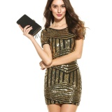 Supercart Summer Autumn Fashion Slim Package Hip Sequined Women Dress Gold Intl Tiongkok Diskon