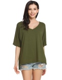 Spesifikasi Supercart Women Casual Short Sleeve V Neck Solid Loose Raglan Sleeve Slit Pullover Comfy T Shirt Army Green Intl Not Specified