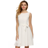 Toko Supercart Zeagoo Women Casual Sleeveless A Line Pleated Dress White Intl Lengkap Di Tiongkok