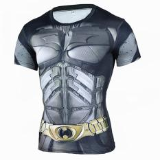 Diskon Superhero Batman 3D Muscle Shirt Pria Slim Fit T Kemeja Binaraga Muscle Top Spandex Kompresi Shirt Streetwear Branded