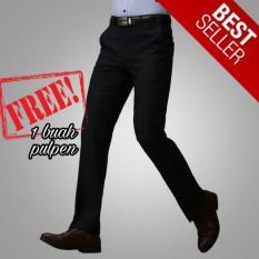 Superior - Celana Formal Bahan Teflon Tebal ANTI AIR - Celana Panjang Pria Slim - Warna Hitam - Model Slimfit - Size 28-32