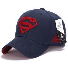 Superman Bisbol Cap Topi untuk Pria Wanita Adjustable S Surat Kasual Outdoor Snapback Hat (merah & Biru Tua) (Int: Satu Ukuran)