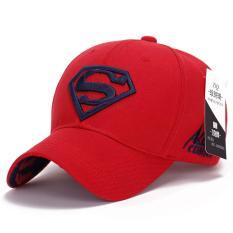 Superman Bisbol Cap Topi untuk Pria Wanita Adjustable S Logo Surat Kasual Outdoor Snapback Hat (DARK BIRU & Merah) (Int: Satu Ukuran)