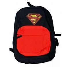 Superman Mens Front Pocket Backpack dengan Layar Tertekan, Hitam, Satu Ukuran-Intl
