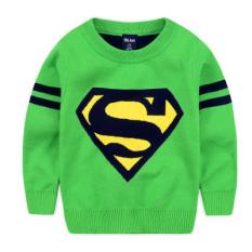 Harga Superman Musim Semi Dan Musim Gugur Lapisan Ganda Hangat Kemeja Rajut Anak Laki Laki Sweter Superman Hijau