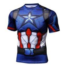 Superman T-Shirt Tights Pria Superhero Film Kapten Amerika Motion Lengan Pendek-Intl
