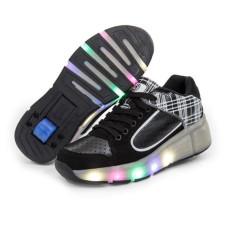 Makan Malam Populer Lampu LED Heelys Anak Sepatu Roda Roller Skate Sepatu Anak Laki-laki Sepatu Anak Perempuan (hitam)