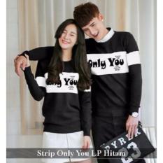 Supplier Baju Online - Kemeja Couple Murah - Baju Couple Strip Only You LP  Hitam 34f8b9416b