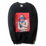 Pria Tertinggi Sweater Fashion Casual Lokomotif Jaket Cetak Bernapas Ruam Penjaga Asli