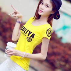 Jual Beli Huruf Katun Lengan Pendek Kaos Korea Fashion Style Atasan Kuning Lemon Tiongkok