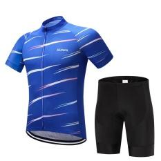 SUREA Musim Panas Pria Bernapas Lengan Pendek Bersepeda Pakaian Suit Cepat Kering PRO TIM Sepeda Jersey Set dengan 9D Gel Pad-Intl