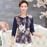 Musim Semi Dan Musim Panas Korea Sutra Lengan Kemeja Pakaian Wanita Biru Bunga Baju Wanita Baju Atasan Kemeja Wanita Diskon Tiongkok