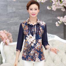 Harga Musim Semi Dan Musim Panas Korea Sutra Lengan Kemeja Pakaian Wanita Biru Bunga Baju Wanita Baju Atasan Kemeja Wanita Oem Original